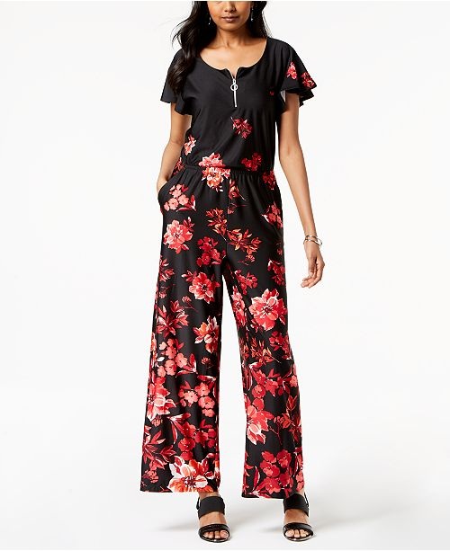 bb341ed1f8ca NY Collection Petite Floral-Print Wide-Leg Jumpsuit   Reviews - Pants ...
