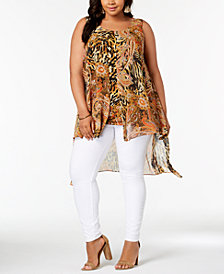 NY Collection Plus Size Split-Front Layered High-Low Top