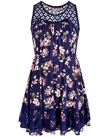 EpicThreads Big Girls Lace Floral-Print Dress, Created for Macy's