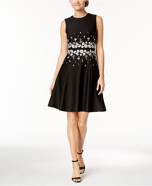 72fcf63b7cdb Calvin Klein Embroidered Fit   Flare Dress   Reviews - Dresses ...