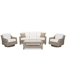 Willough Outdoor 4-Pc. Set (1 Sofa, 2 Swivel Gliders & 1 Coffee Table), with Sunbrella® Cushions, Created for Macy's