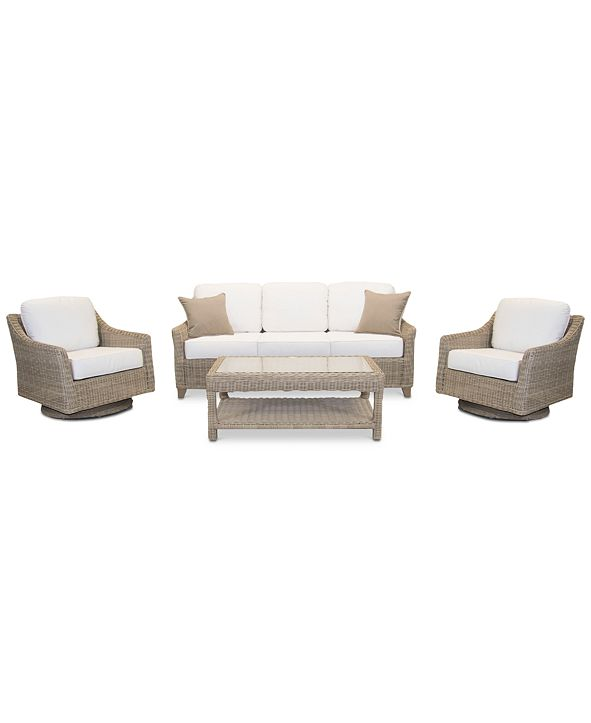Furniture Willough Outdoor 4-Pc. Set (1 Sofa, 2 Swivel Gliders & 1 Coffee Table), with Sunbrella® Cushions, Created for Macy's