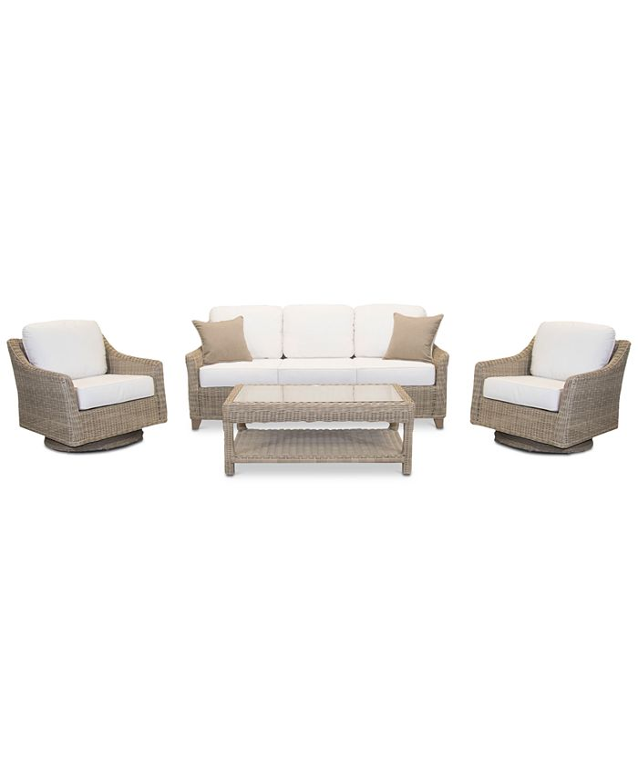 Furniture - Willough Outdoor 4-Pc. Set (1 Sofa, 2 Swivel Gliders & 1 Coffee Table)