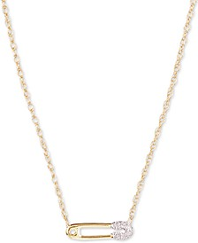 "Diamond Accent Pin Pendant Necklace in 14k Gold, 15"" + 1"" extender, Created for Macy's"