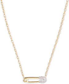 "Elsie May Diamond Accent Pin Pendant Necklace in 14k Gold, 15"" + 1"" extender, Created for Macy's"