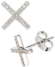 Diamond Crisscross Stud Earrings (1/10 ct. t.w.) in Sterling Silver, Created for Macy's