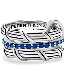 Peter Thomas Roth 3-Pc. Set Blue Sapphire Connected Stacking Rings (1-1/4 ct. t.w.) in Sterling Silver