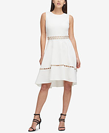 DKNY Grommet Scuba Fit & Flare Dress, Created for Macy's