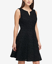 DKNY Mesh Scuba Fit & Flare Dress, Created for Macy's