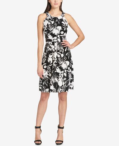 0581661ea257d7 Tommy Hilfiger Floral Printed Sleeveless A-Line Dress - Dresses ...