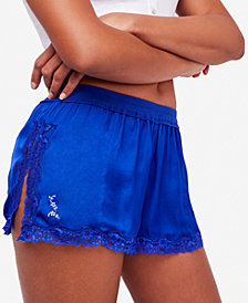 Free People High Side Shortie Lace-Trim Shorts