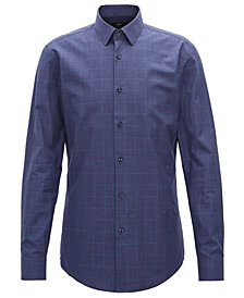 BOSS Men's Slim-Fit Melangé Cotton Shirt
