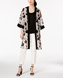Alfani Printed Kimono & Capri Pants, Created for Macy's