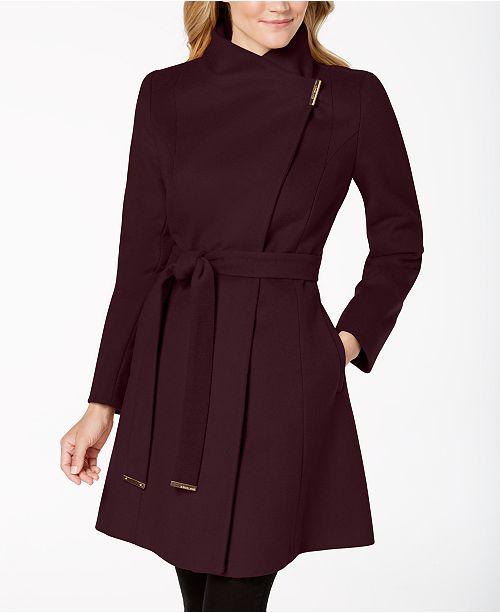 1474f7770933 Michael Kors Asymmetrical Belted Coat & Reviews - Coats - Women ...