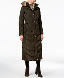 MICHAEL Michael Kors Faux-Fur-Trim Quilted Maxi Puffer Coat
