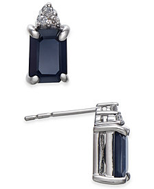 Sapphire (2-1/3 ct. t.w.) & Diamond Accent Stud Earrings in 14k White Gold