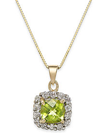 "Peridot (1-1/10 ct. t.w.) & Diamond (1/4 ct. t.w.) Halo 18"" Pendant Necklace in 14k Gold"