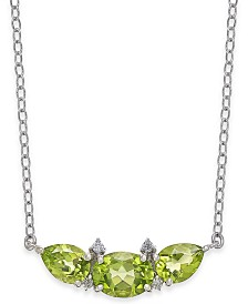 "Peridot (3-1/10 ct. t.w.) & Diamond Accent 18"" Collar Necklace in Sterling Silver"