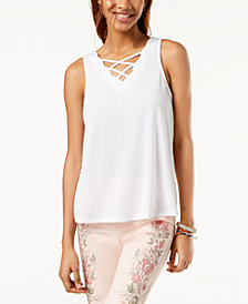 One Hart Juniors' Scalloped Crisscross Tank Top, Created for Macy's