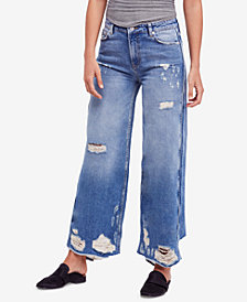 Free People Cotton Ripped Wide-Leg Jeans
