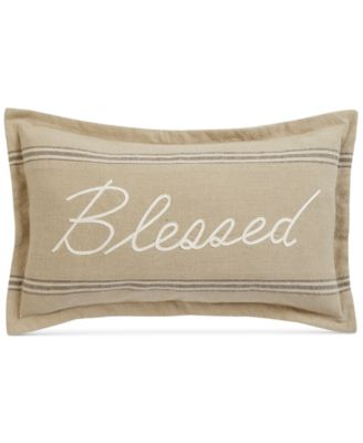 "Blessed Embroidered 14"" x 24"" Decorative Pillow, Created for Macy's"