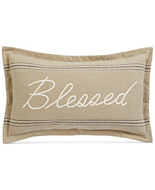 "Oxford Collection Blessed Embroidered 14"" x 24"" Decorative Pillow, Created for Macy's"