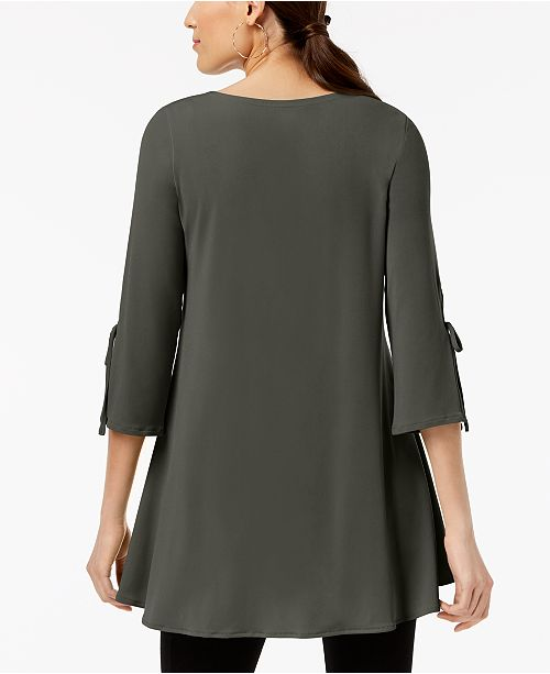 Alfani for Sleeve Urban Macy's Top Asymmetrical Created Swing Olive Tie qwPOBqU