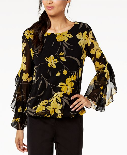 Top for Alfani Bamboo Created Sleeve Black Spiral Macy's Floral Bubble wqXAta7X