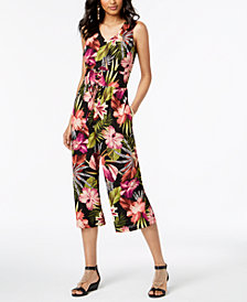 Thalia Sodi Floral-Print Cropped Jumpsuit, Created for Macy's