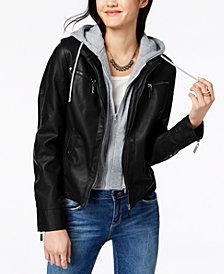 Jou Jou Juniors' Hooded Faux-Leather Moto Jacket