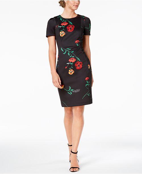 44ff907857 Calvin Klein Floral-Print Scuba Sheath Dress - Dresses - Petites ...