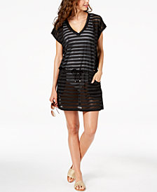 Calvin Klein Open-Knit Striped Tunic Cover Up,Created for Macy's Style