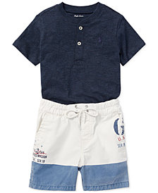 Polo Ralph Lauren Baby Boys Cotton Shirt & Shorts Set