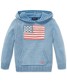 Polo Ralph Lauren Indigo Flag Cotton Hoodie, Little Boys