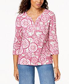 Karen Scott Petite Cotton Printed Split-Neck Top, Created for Macy's