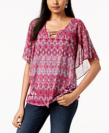 NY Collection Petite Mesh Popover Poncho Top