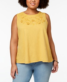 Style & Co Plus Size Embellished Swing Tank, Created for Macy's