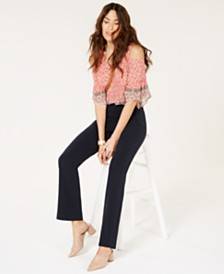 Style & Co Mid Rise Pull-On Tummy-Control Pants, Created for Macy's