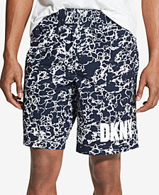 "DKNY Men's 10"" Marbled Logo Print Shorts"