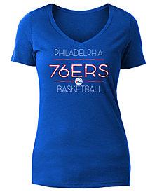 5th & Ocean Women's Philadelphia 76ers Foil V Neck T-Shirt