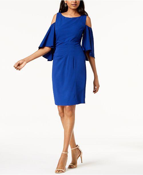 Dress Howard Jessica Shift Blue Shoulder Cold YwOqcx6U
