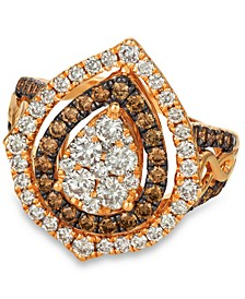 Chocolate & Nude™ Diamond Cluster Halo Ring (1-9/10 ct. t.w.) in 14k Rose, Yellow or White Gold