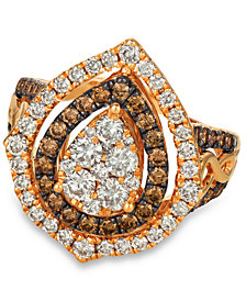 Le Vian® Chocolate & Nude™ Diamond Cluster Halo Ring (1-9/10 ct. t.w.) in 14k Rose Gold