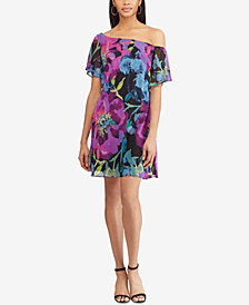 American Living Floral Print Georgette One-Shoulder Dress