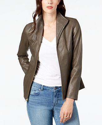 Cole Haan Leather Moto Jacket Coats Women Macy S