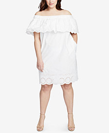 RACHEL Rachel Roy Trendy Plus Size Off-The-Shoulder Eyelet Dress