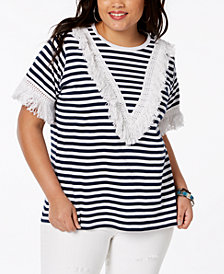 Say What? Trendy Plus Size Cotton Fringe-Trim T-Shirt