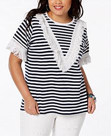 Say What? Trendy Plus Size Cotton Fringe-Trim T-Shirt