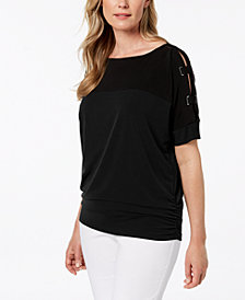 JM Collection Embellished Colorblocked Top, Created for Macy's