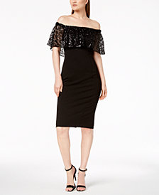 Calvin Klein Off-The-Shoulder Sequined Lace Dress